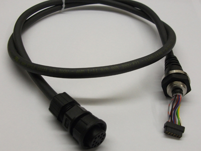 Overmoulded Connector and Cable with moulded Strain Relief